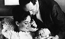 Actress Audrey Hepburn with her husband, American actor Mel Ferrer and their three-day-old son Sean, in Lucerne, Switzerland. (Agency reference 89726728)