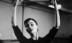 Actress Audrey Hepburn in a dance studio when she was an aspiring ballerina. (Agency reference 89726732)