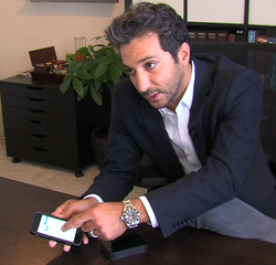 Daniel Yazbeck connects his iPhone to a prototype MyDx cannabis sensor. May 8...