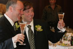 Gleason, and his husband, Marc, toast to their marriage at their wedding in 2...