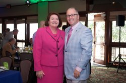 Gleason with Speaker of the California State Assembly, Toni Atkins.