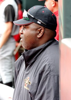 San Diego State baseball coach Tony Gwynn stands in the dugout during a game ...
