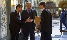 Toby Kebbell as Liam Foyle, Roy Marsden as Peter Simpkins, and David Tennant as Will Burton.