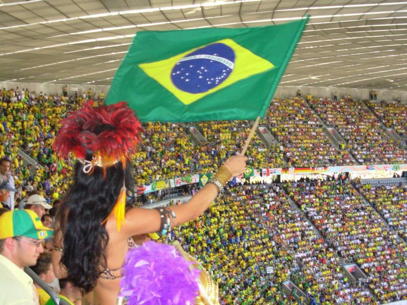 A fan waves the Brazillian flag at a World Cup soccer match, June 18, 2006.