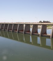 Morelos Dam holds back the Colorado River at the U.S.-Mexico border near Yuma, AZ. May 29, 2014.