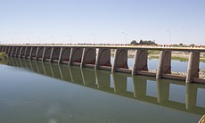 Morelos Dam holds back the Colorado River at th...