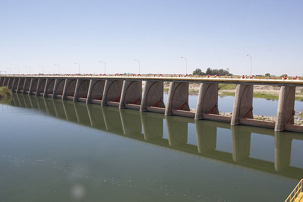 Morelos Dam holds back the Colorado River at the U.S.-Mex...