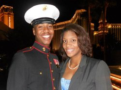 Lance Cpl. Steven Stevens with wife Monique.