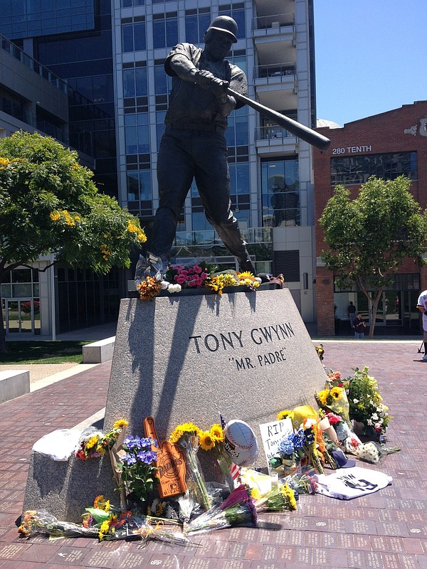 A Tony Gwynn statue beyond the outfield wall at Petco Par...