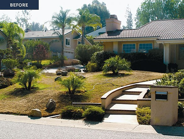 Before: a San Diego home before a low-water yard makeover.