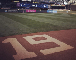 The Seattle Mariners honored Tony Gwynn on June 16, with a No. 19 etched in t...