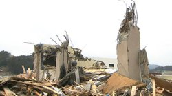 Destruction in the small town of Kuji, Japan.