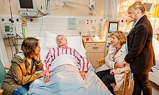 At the hospital: Nicola Walker as Gillian, Derek Jacobi as Alan, Anne Reid as...
