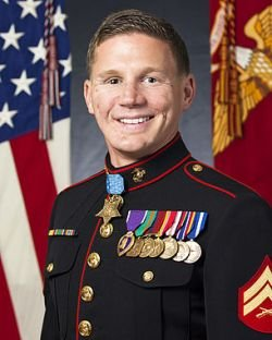 "Retired U.S Marine Corps Cpl. William ""Kyle"" Carpenter is shown wearing the Medal of Honor in this undated portrait."