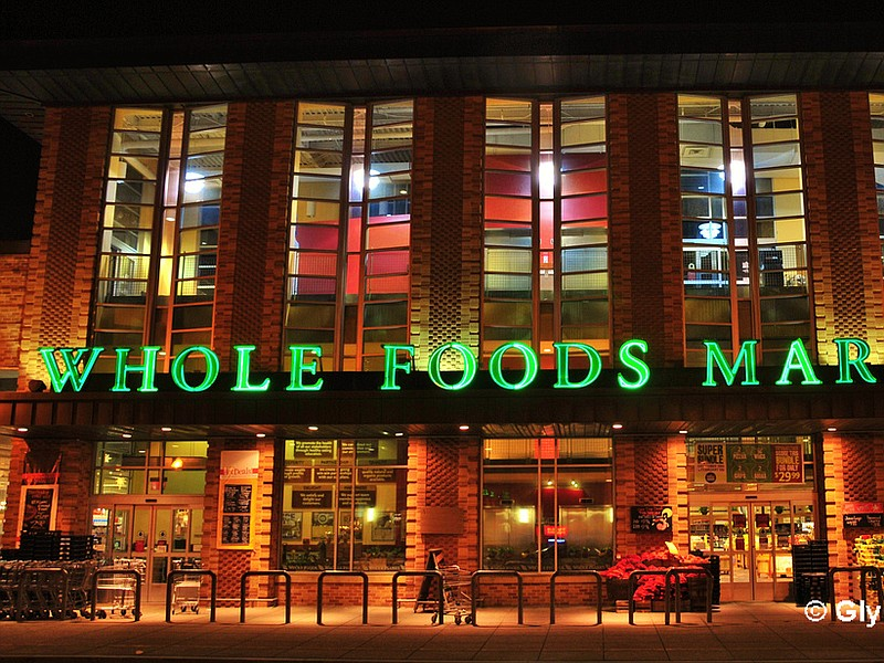 The exterior of a Whole Foods Market is seen at night, Dec. 31, 2011.