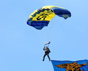 Archive photo of sailor on Navy Parachute Team.