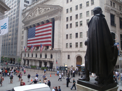 View of the New York Stock Exchange Building on June 20, 2008