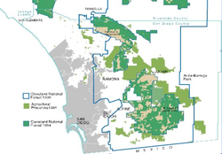Cleveland National Forest, private land shown in brown.