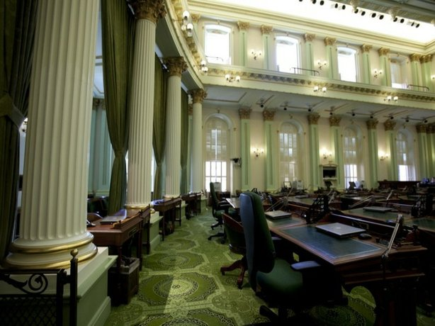 The California Assembly chamber interior.