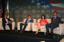 The opening panel at the annual conference of the National Association of Latino Elected and Appointed Officials. From left to right: Arturo Vargas, NALEO; Daniel Garza, The LIBRE Initiative; Victoria DeFrancesco Soto, University of Texas at Austin; and Cristóbal Alex, Latino Victory Project.
