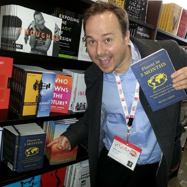 Author Benny Lewis poses with his book