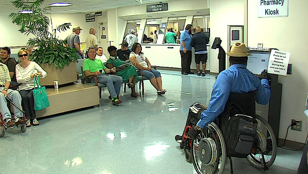 Patients wait their turn at the VA Medical Center in La Jolla on June 20, 2014. VA officials say existing patients can make an appointment to see their doctor within two weeks, but new patients often can't get in for six weeks.