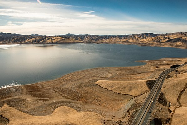 The San Luis Reservoir in Northern California, a major source of water for th...