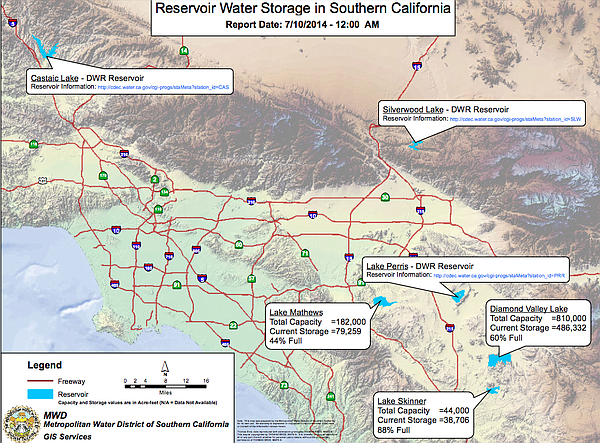 Reservoir storage levels in Southern California as of July 10, 2014.