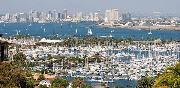 The downtown San Diego skyline is seen from Point Loma, J...