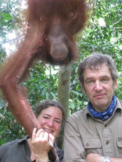 Anatomist Joy Reidenberg and veterinarian Mark Evans hanging around with an o...