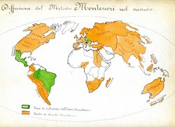 Map reflecting the diffusion of the Montessori Method across the world.