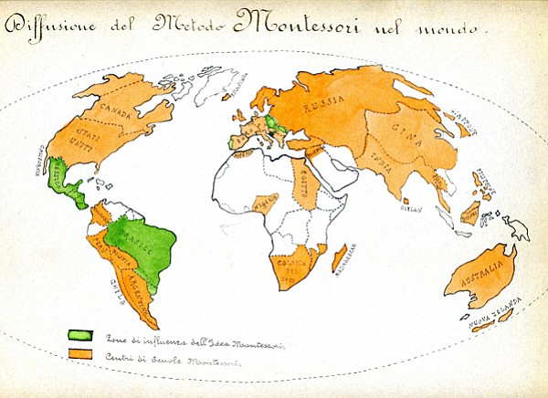 Map reflecting the diffusion of the Montessori Method acr...