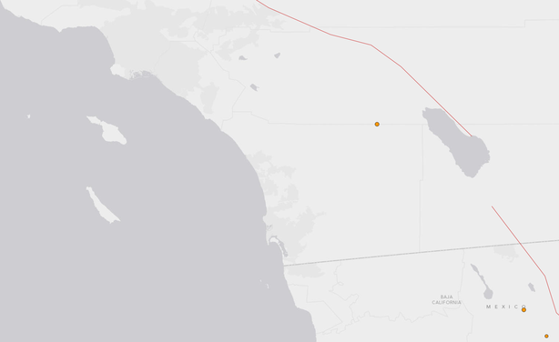 A 3.4 earthquake hit 11 miles north-northwest of Borrego Springs shortly befo...