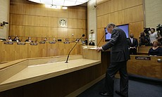 San Diego Mayor Bob Filner speaks to the City Council, Aug. 23, 2013, saying he has agreed to resign on Aug. 30 amid sexual harassment allegations brought by at least 17 women.