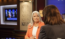 Irene McCormack Jackson is shown during her interview on KPBS Evening Edition with host Peggy Pico, July 22, 2014.