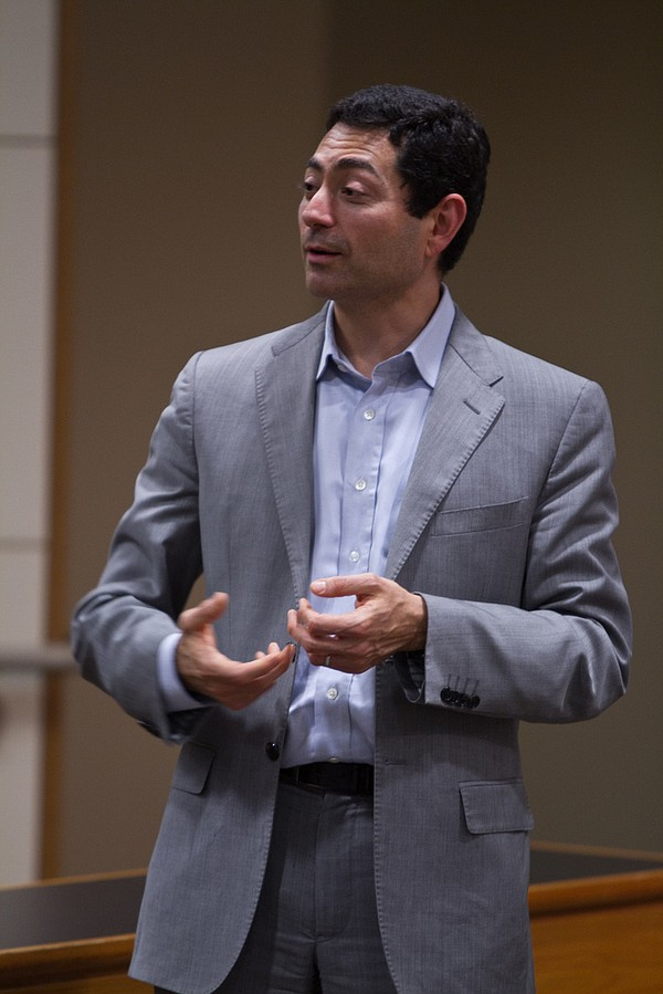 Mariano-Florentino Cuéllar speaks at a Stanford Law School event, May 1, 2013.