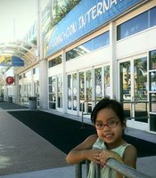 Gabby can't wait to go into the San Diego Convention Center to check out Comic-Con, July 24, 2014.