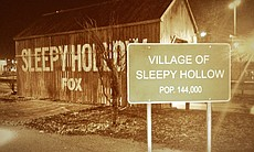 "The 'Sleepy Hollow' exhibit at 2014 Comic-Con. ""Pretty spooky at night."""