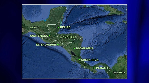 A map shows Mexico and the countries in Central America — Guatemala, Belize, ...