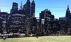 "The skyline built for the Fox ""Gotham"" zipline."