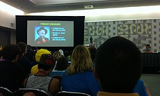 A panel on serial killers was immediately followed by one for Adventure Time. Since that latter was more popular and had people lining up two panels in advance so incongruously there were a lot of kids enjoying an exploration of the psychology of serial killers.