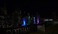 And the Gotham skyline at night.