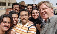 Rick Steves had no problem chatting with students in Iran.