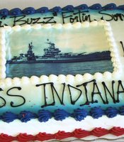 A cake at the Golden Oaks Senior Living Community in Yucaipa, California, on July 30, 2014, marks the 69th anniversary of the sinking of the USS Indianapolis.