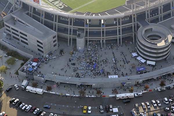 San Diego's Qualcomm Stadium, home to the NFL's Chargers, serves as a shelter...