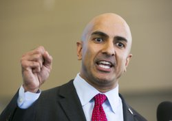 Republican gubernatorial candidate Neel Kashkari speaks to the media at the L...