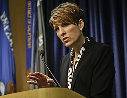 U.S. Attorney Laura Duffy speaks at a news conference, Feb. 6, 2014.