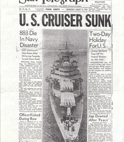 A newspaper from August 15, 1945, broadcasts the news of the sinking of the USS Indianapolis.
