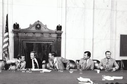 """The Dick Cavett Show"" of August 1, 1973 on location from the Senate Watergate Committee hearing room in Washington D.C. Committee Vice-Chairman, Senator Howard Baker (left); Dick Cavett; Senator Lowell Weicker (near right); Senator Daniel Inouye (center right); Senator Herman Talmadge (far right)."
