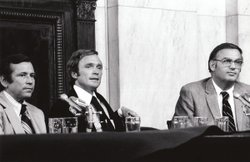 """The Dick Cavett Show"" of August 1, 1973 on location from the Senate Watergate Committee hearing room in Washington D.C. Dick Cavett is in the center flanked by Committee Vice-Chairman, Senator Howard Baker (left) and Senator Lowell Weicker (right)."